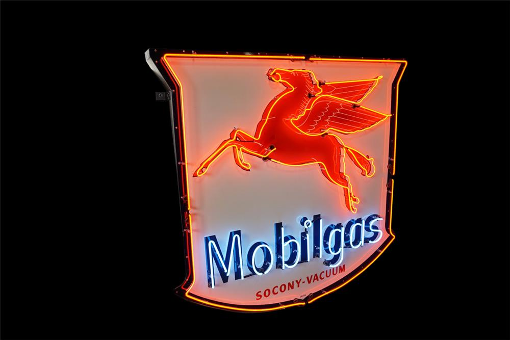 Magnificent 1955 Mobil Oil restored single-sided neon porcelain shield-shaped service station sign with blinking Pegasus logo. - Front 3/4 - 189863
