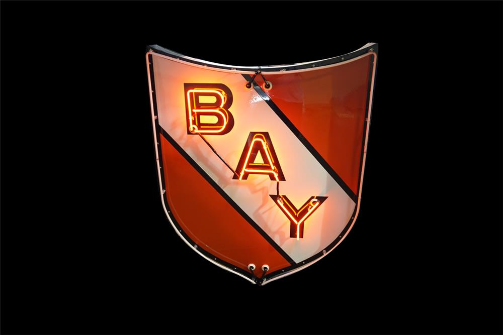 Rarely seen Bay Gasoline of California single-sided restored neon porcelain service station sign. - Front 3/4 - 189864