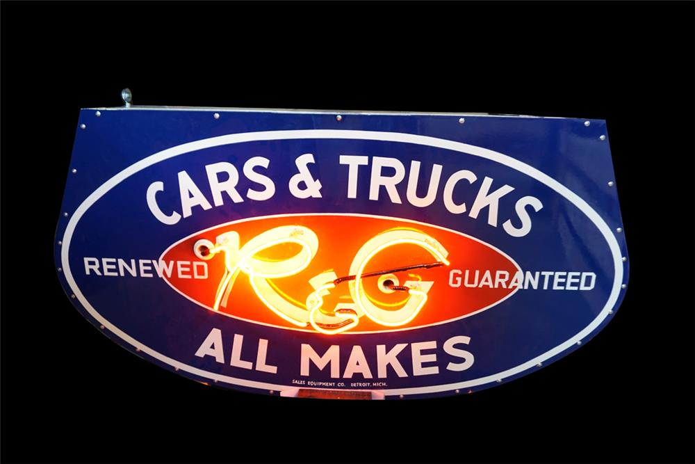 Extremely rare 1950s Ford R&G (Renewed and Guaranteed) Cars and Trucks double-sided porcelain neon dealership sign. - Front 3/4 - 189866