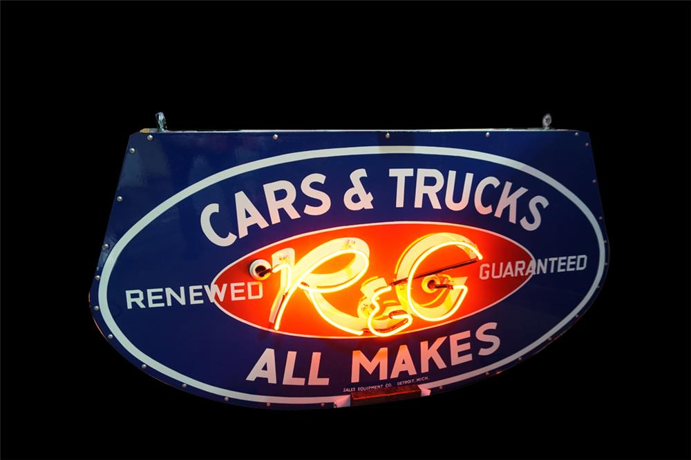 Extremely rare 1950s Ford R&G (Renewed and Guaranteed) Cars and Trucks double-sided porcelain neon dealership sign. - Rear 3/4 - 189866