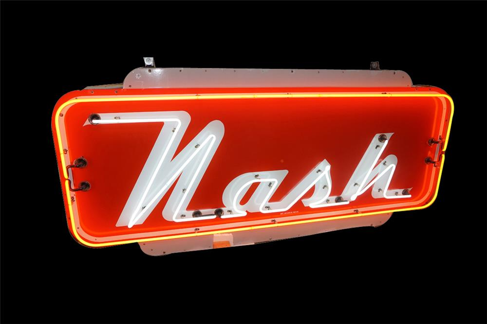 Very clean all original Nash Automobiles single-sided neon porcelain dealership sign. - Front 3/4 - 189867