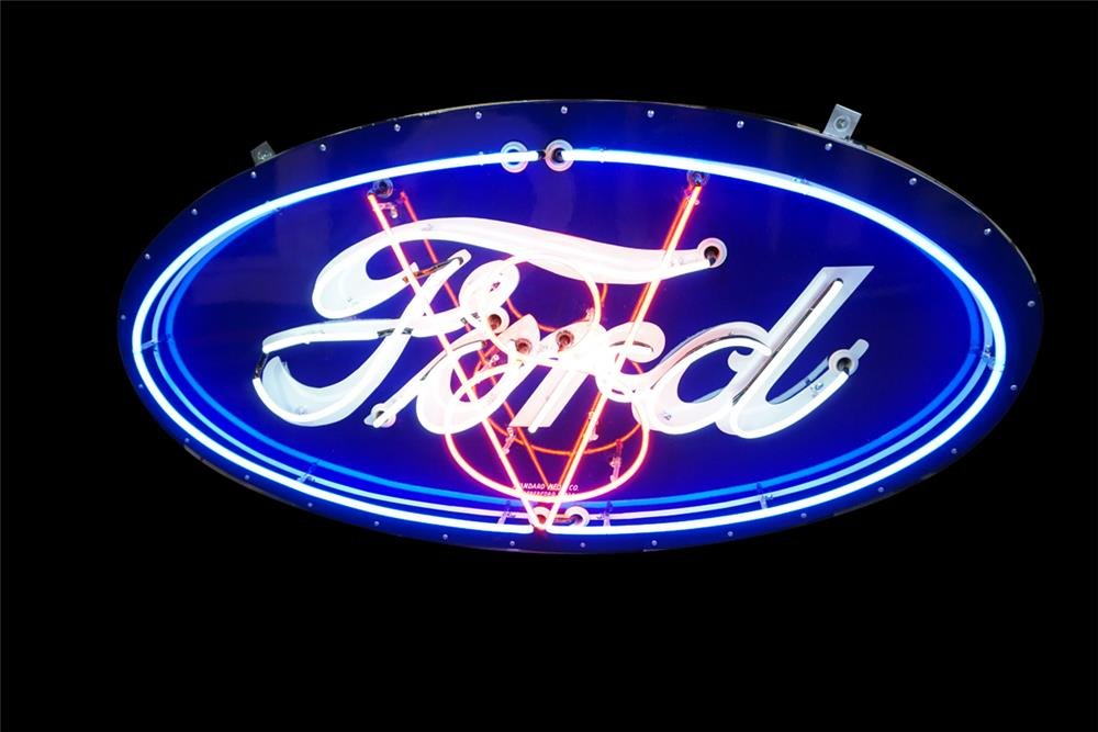 Amazing 1930s-40s Ford Automobiles single-sided neon porcelain dealership sign with animated V8 logo. Restored to day-one grandeur. Simply superb! - Front 3/4 - 189868