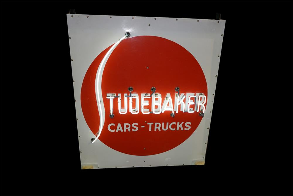 Very unusual 1940s Studebaker Cars-Trucks double-sided neon porcelain dealership sign. - Rear 3/4 - 189877