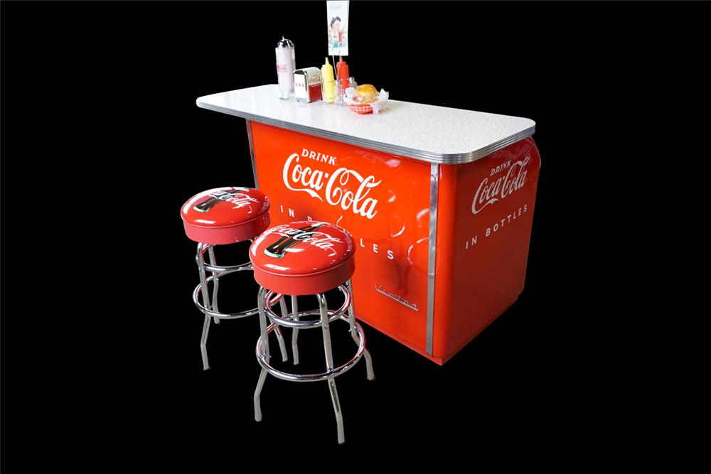 Fantastic 1950s Coca-Cola Victor two-drawer roll-top diner soda bar. - Front 3/4 - 189880