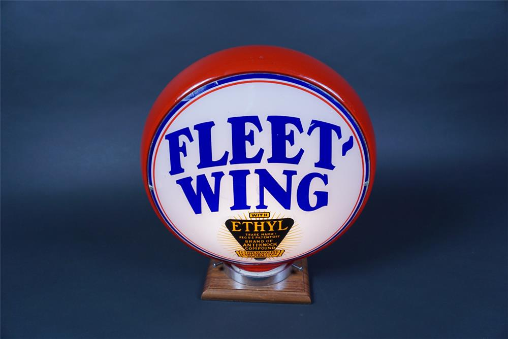 Rare 1930s Fleet-Wing with Ethyl Gasoline red bodied milk glass gas pump globe. - Front 3/4 - 190648