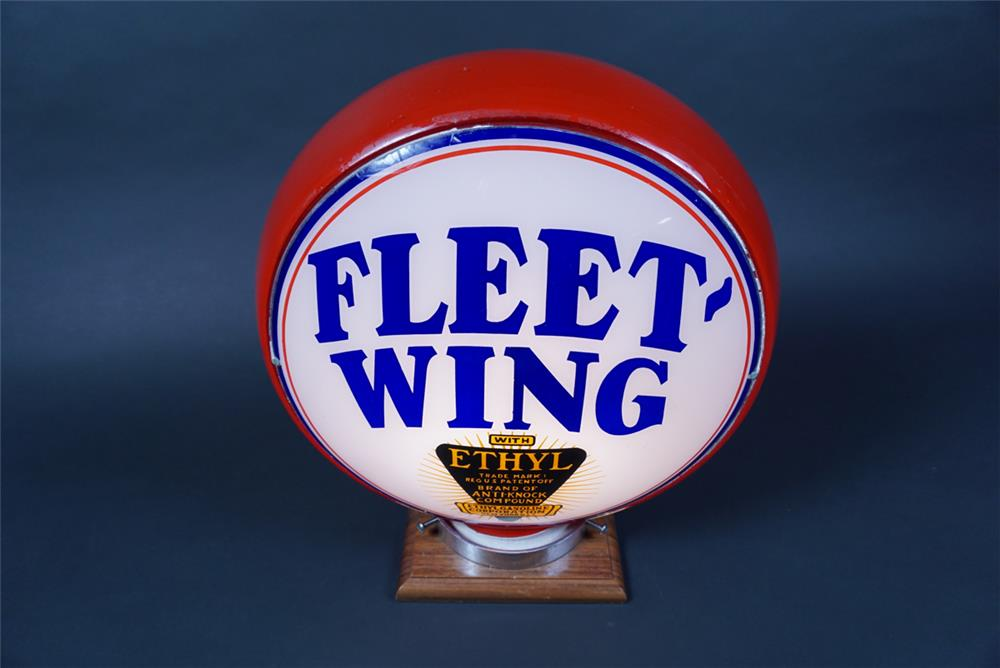 Rare 1930s Fleet-Wing with Ethyl Gasoline red bodied milk glass gas pump globe. - Rear 3/4 - 190648