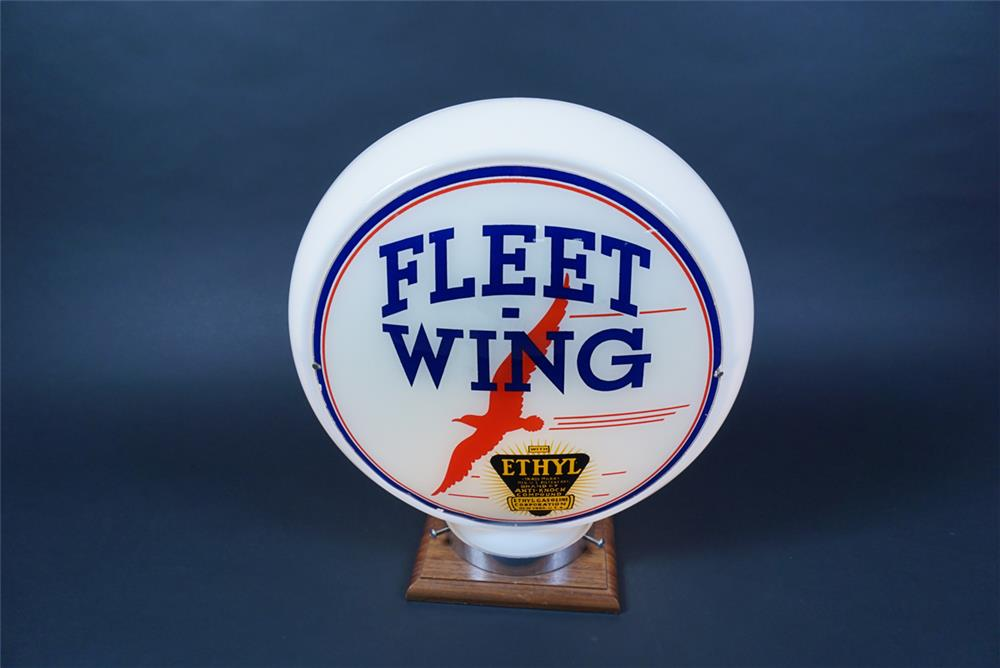 Beautiful 1930s Fleet-Wing with Ethyl narrow bodied milk glass gas pump globe with bird logo. - Front 3/4 - 190649
