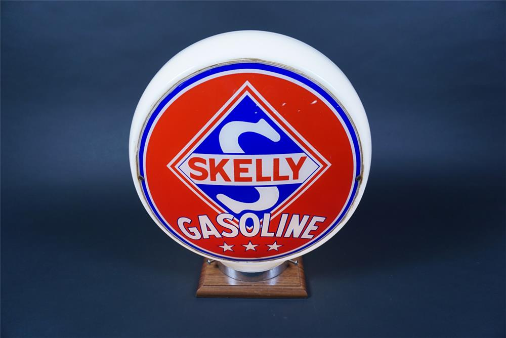 Choice 1940s-50s Skelly Gasoline wide-bodied milk-glass gas pump globe. - Front 3/4 - 190655