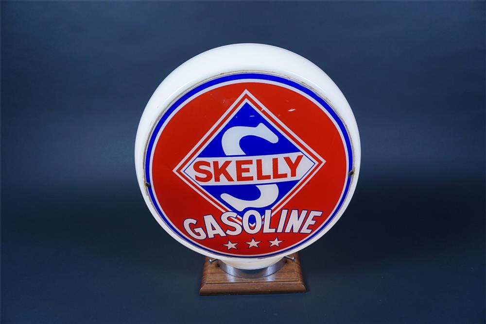 Choice 1940s-50s Skelly Gasoline wide-bodied milk-glass gas pump globe. - Rear 3/4 - 190655