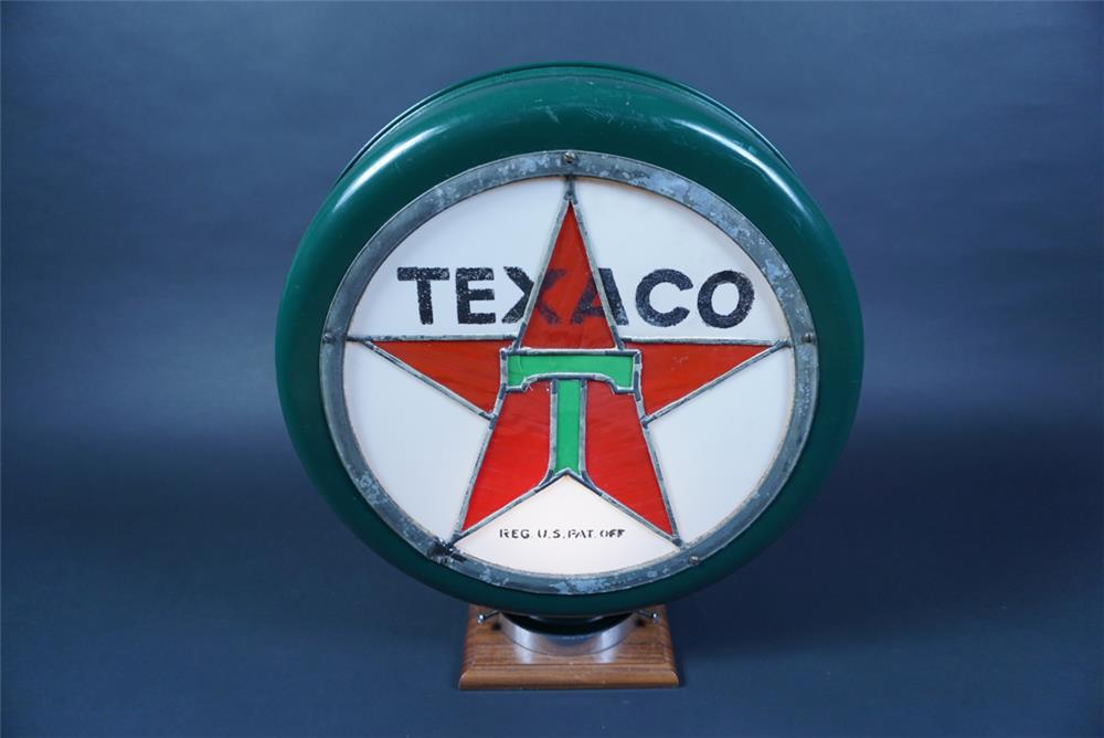 Museum quality 1920s Texaco Oil Stain-glass metal bodied gas pump globe. - Front 3/4 - 190657