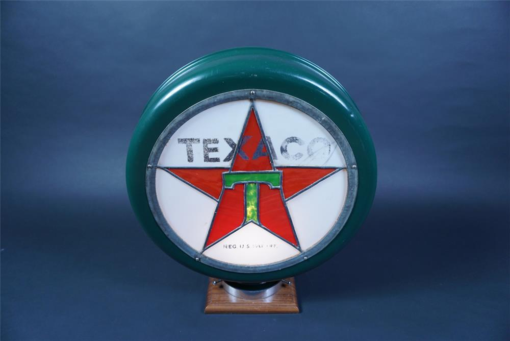 Museum quality 1920s Texaco Oil Stain-glass metal bodied gas pump globe. - Rear 3/4 - 190657