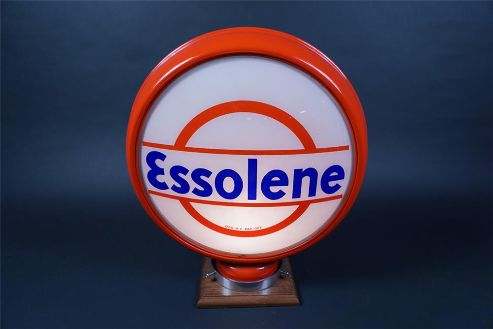 Superb 1920s Standard Essolene of New Jersey Gasoline high-profile metal-bodied globe. - Front 3/4 - 190658