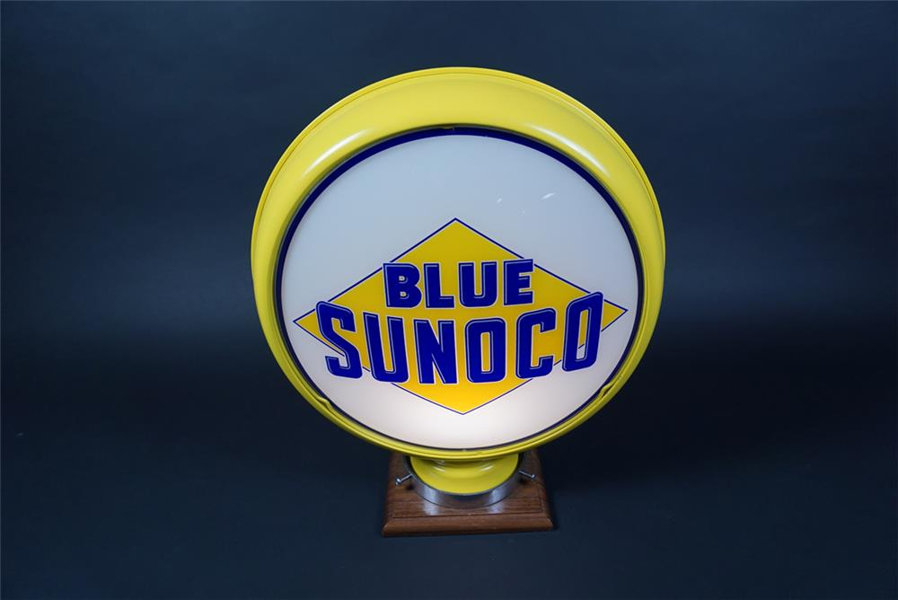Marvelous 1920s Blue Sunoco Gasoline low profile metal bodied gas pump globe. - Front 3/4 - 190659
