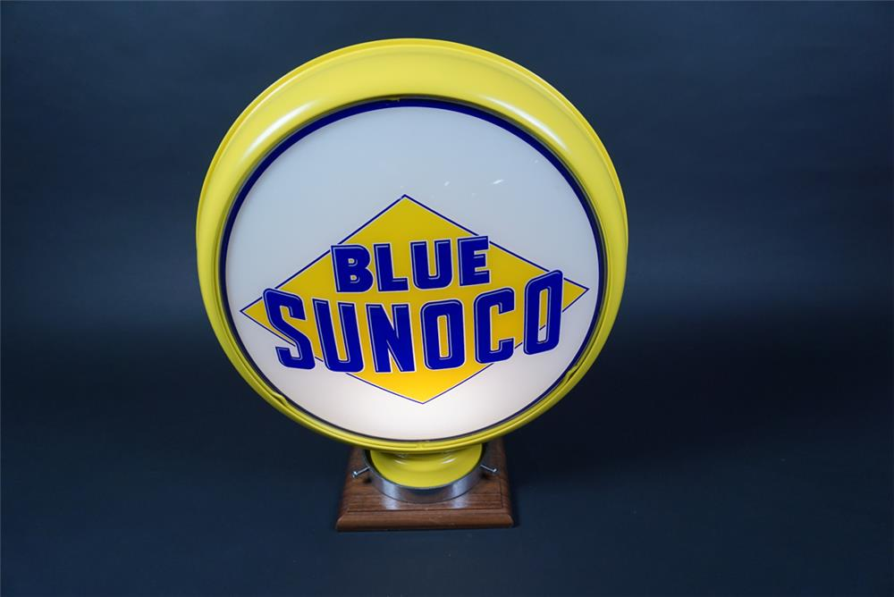 Marvelous 1920s Blue Sunoco Gasoline low profile metal bodied gas pump globe. - Rear 3/4 - 190659