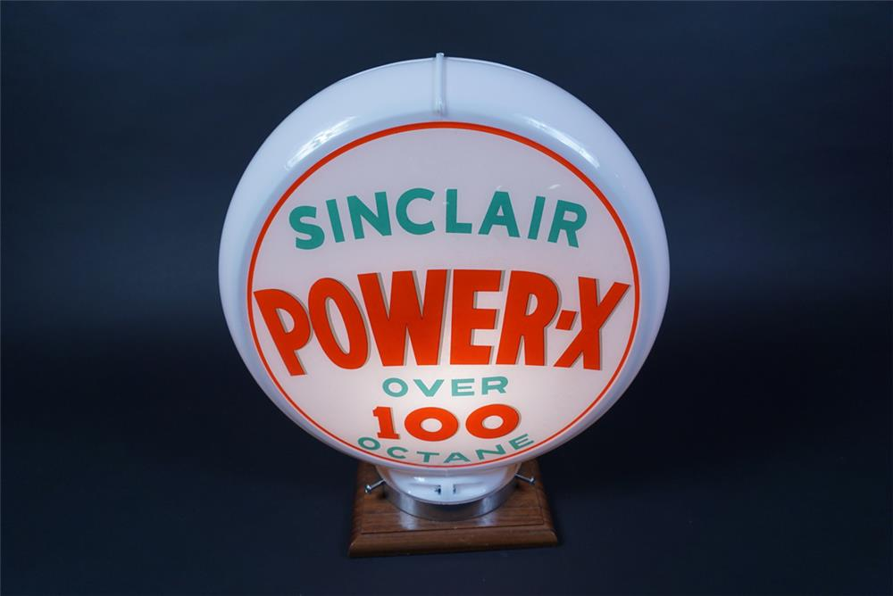 NOS Sinclair Power-X Over 100 Octane gas pump globe presented in a Capcolite body. - Front 3/4 - 190661