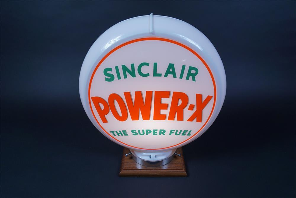"Circa 1950s Sinclair Power X ""The Super Fuel"" gas pump globe presented in a Capcolite body. - Rear 3/4 - 190662"