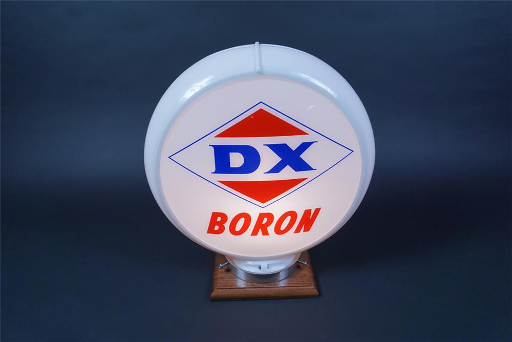 NOS DX Gasoline with Boron gas pump globe presented in a Capcolite body. - Front 3/4 - 190663