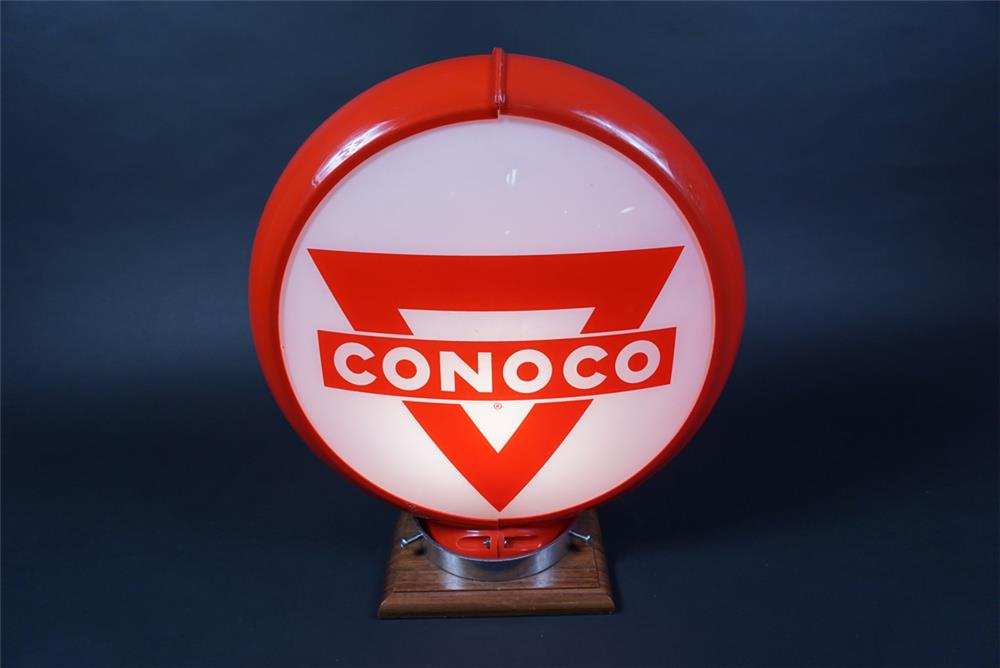NOS 1950s Conoco Gasoline gas pump globe in a Capcolite body. - Front 3/4 - 190676