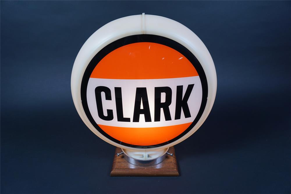 Unusual Clark Gasoline of Illinois gas pump globe in a Capcolite body. - Rear 3/4 - 190677