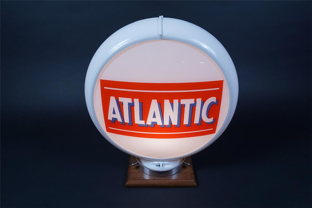 NOS 1950s Atlantic Gasoline gas pump globe in a Capcolite body. - Rear 3/4 - 190678