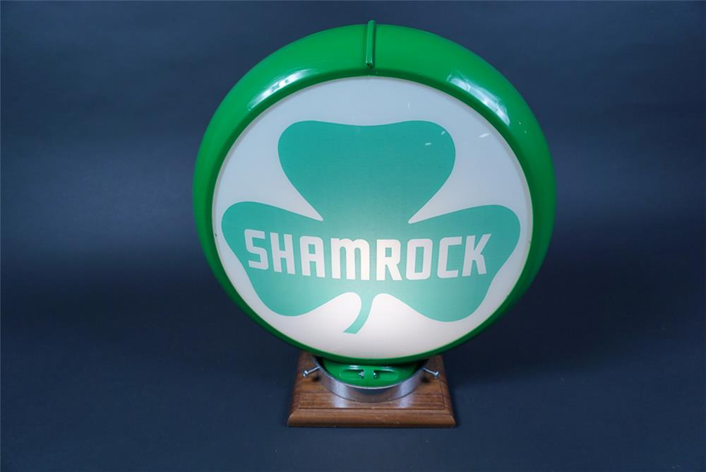 Desirable NOS 1950s Shamrock Gasoline gas pump globe with Shamrock logo. - Rear 3/4 - 190682