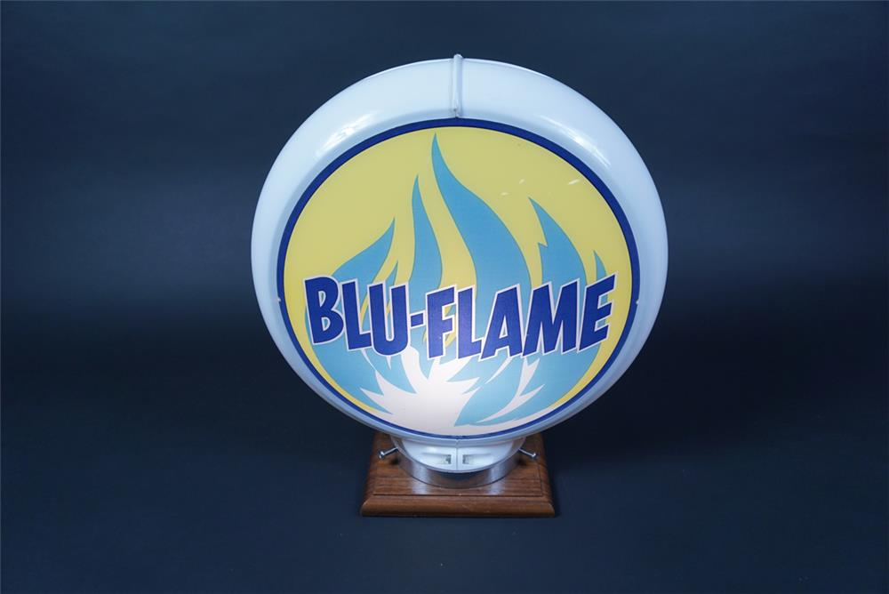 Highly Prize Blu-Flame Gasoline gas pump globe in a Capcolite body. - Rear 3/4 - 190684