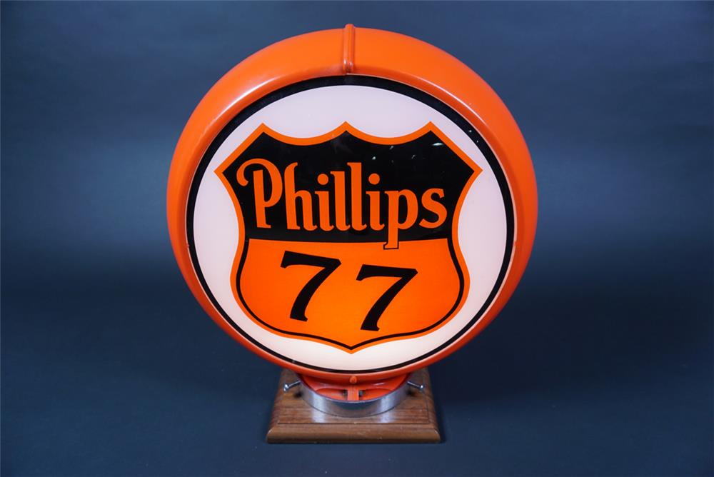 Rare late 1940s early 50s Phillips 77 Aviation Gasoline gas pump globe in a Capcolite body. - Front 3/4 - 190691