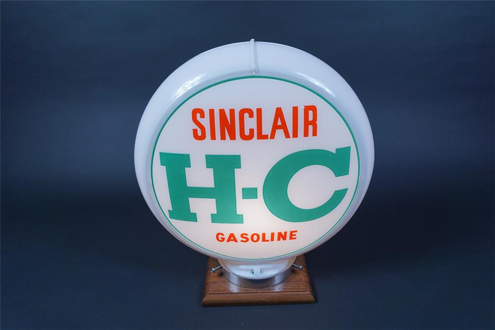 NOS H-C Sinclair Gasoline gas pump globe in a Capcolite body. - Rear 3/4 - 190694