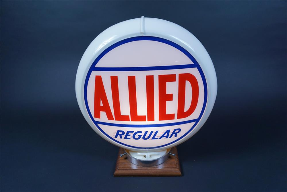 Very clean 1950s Allied Regular Gasoline gas pump globe in a Capcolite body. - Front 3/4 - 190695