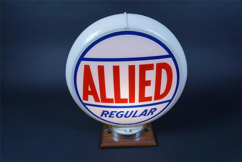 Very clean 1950s Allied Regular Gasoline gas pump globe in a Capcolite body. - Rear 3/4 - 190695