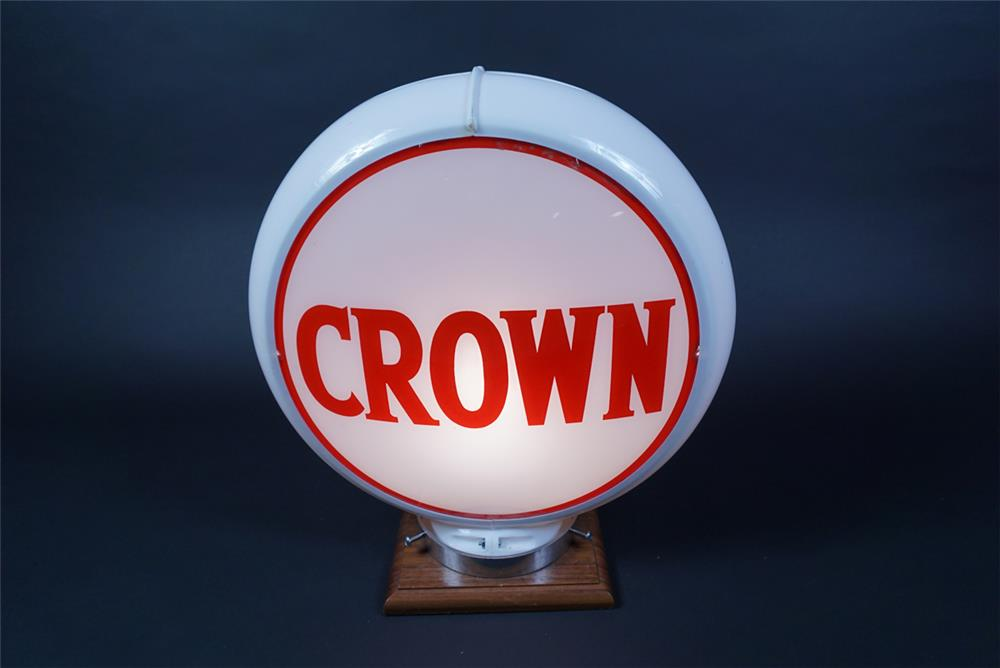 Circa 1950s Crown Gasoline of Kentucky gas pump globe in a Capcolite body. - Front 3/4 - 190696