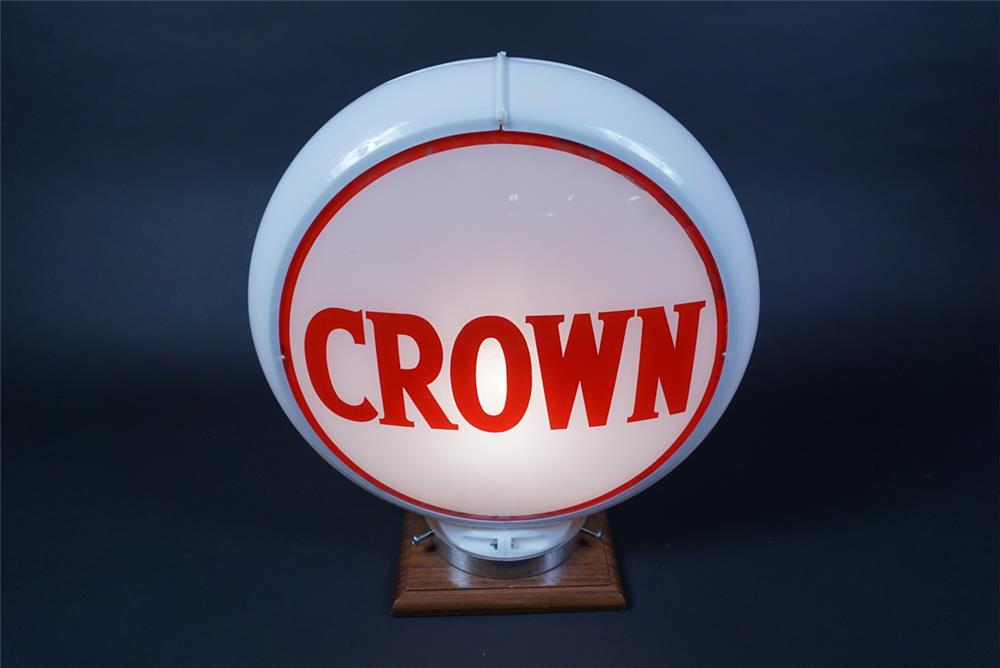Circa 1950s Crown Gasoline of Kentucky gas pump globe in a Capcolite body. - Rear 3/4 - 190696