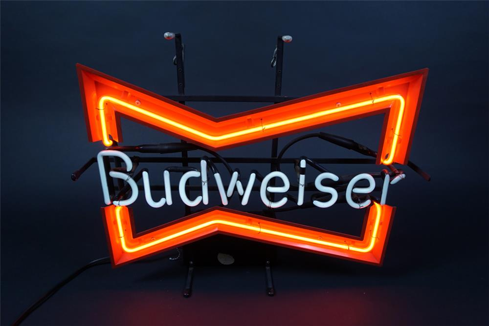 Budweiser Beer bow-tie logo neon tavern sign. Lights and works perfectly! - Front 3/4 - 190702