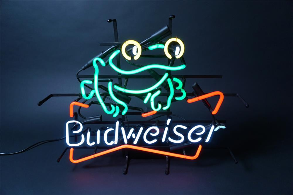 "Sharp Budweiser ""Frogs"" neon tavern sign. Lights brilliantly! - Front 3/4 - 190705"