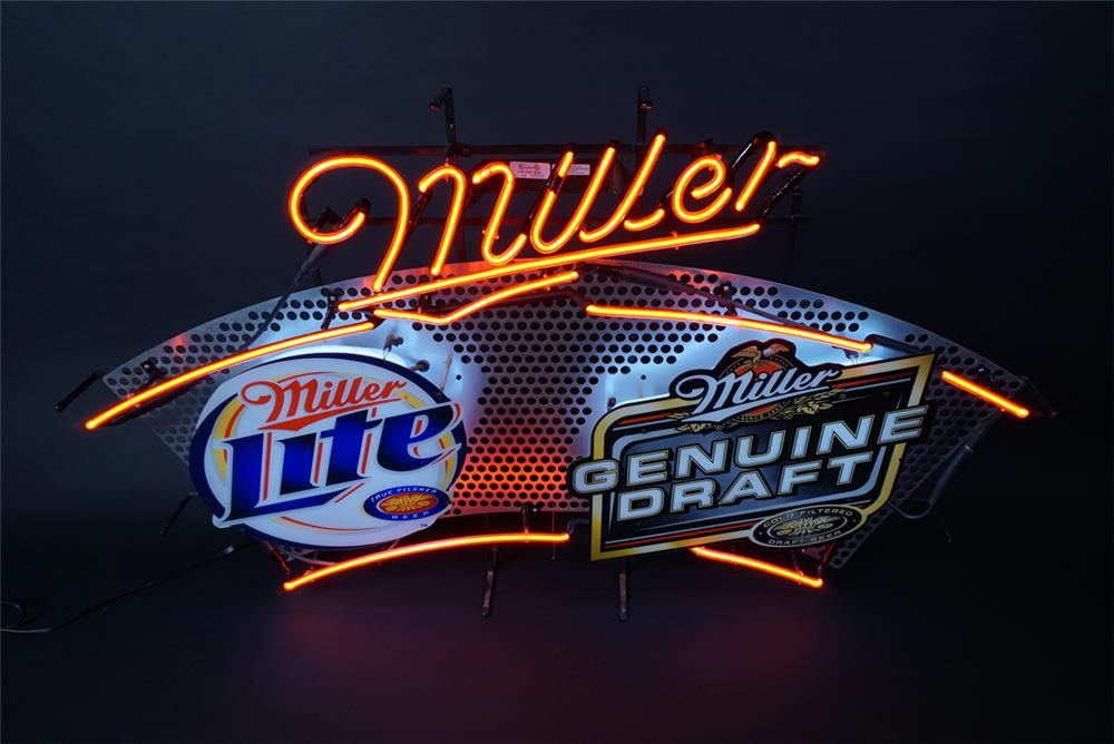 Large Miller Lite - Miller Genuine Draft neon tavern sign. - Front 3/4 - 190706