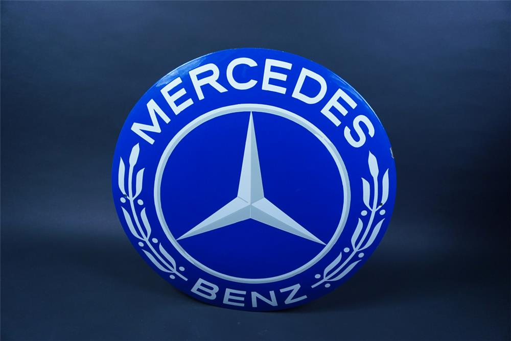 Highly prized circa late 1940s-50s Mercedes Benz single-sided porcelain concave dealership sign - Front 3/4 - 190707