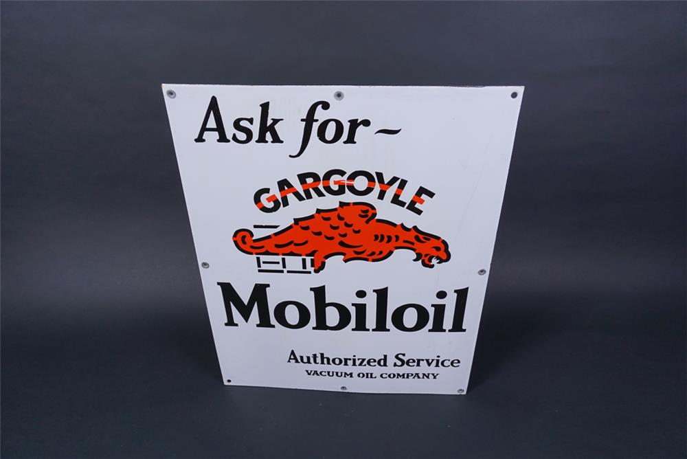 Striking NOS 1930s Mobil Gargoyle Motor Oil single-sided porcelain station island cabinet sign with Gargoyle graphic. - Front 3/4 - 190708