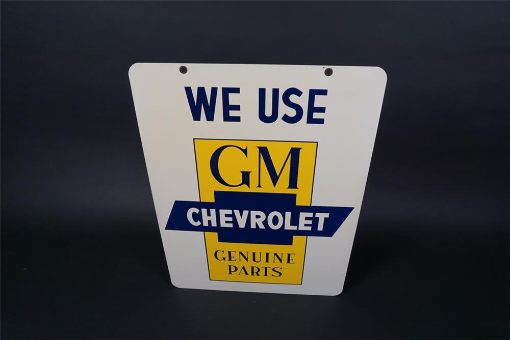 "Sharp NOS 1950s ""We Use GM-Chevrolet Genuine Parts"" double-sided tin dealership sign with bow-tie logo. - Front 3/4 - 190709"