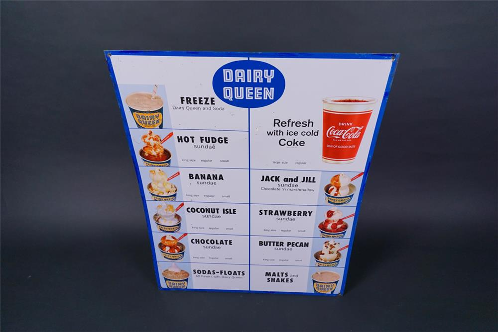 Rare NOS 1950s Dairy Queen - Coca-Cola joint marketed ice cream fountain sign with killer graphics. - Front 3/4 - 190712