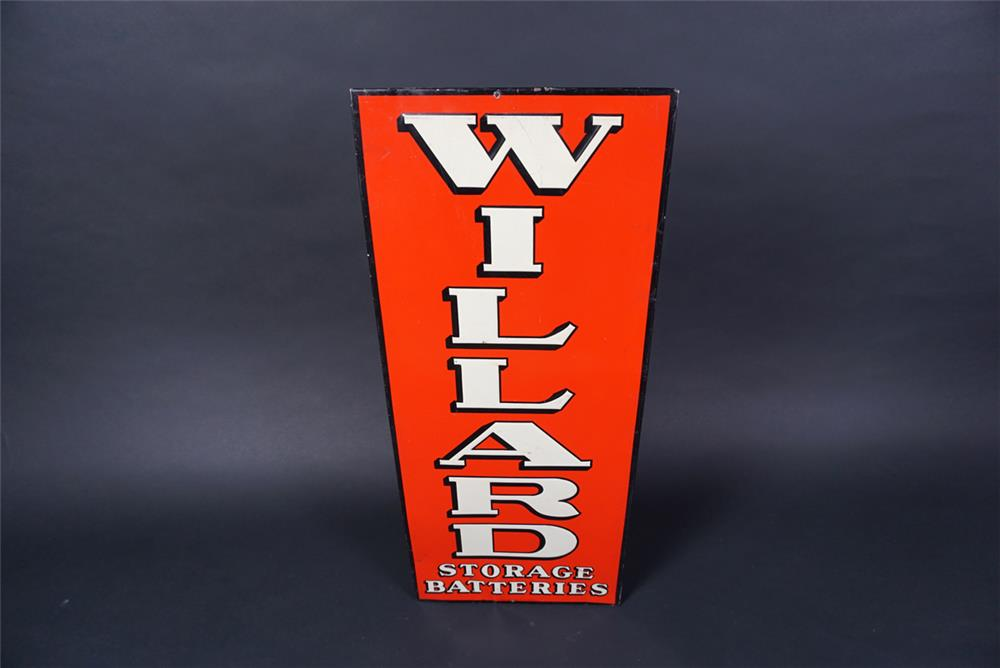 Unusual 1930s Willard Storage Batteries single-sided embossed tin sign. - Front 3/4 - 190713