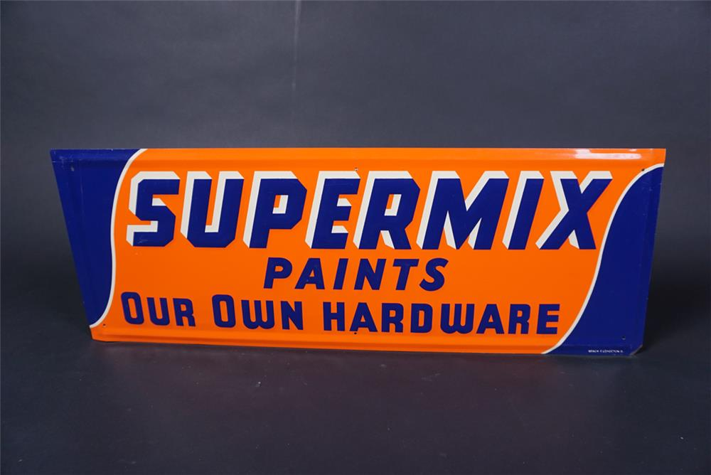 "NOS 1950s Our Own Hardware ""Super Mix Paints"" single-sided embossed tin sign. - Front 3/4 - 190720"