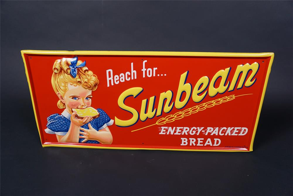 Stunning 1955 Sunbeam Bread single-sided embossed tin sign featuring the Sunbeam girl. - Front 3/4 - 190721