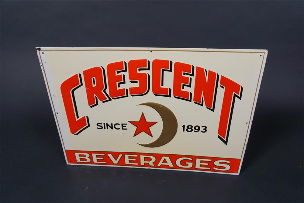 NOS 1930s Crescent Soda Beverages of New Orleans single-sided embossed tin sign - Front 3/4 - 190723