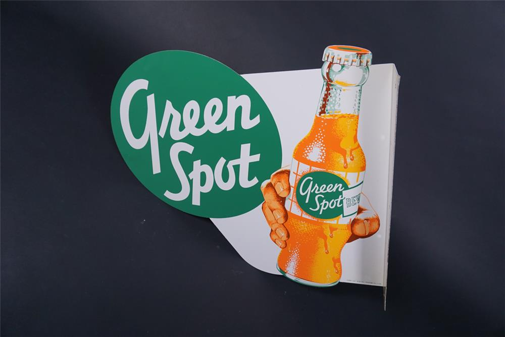 Extremely scarce NOS 1950s Green Spot Orange Soda tin flange sign with hand/bottle graphic. - Front 3/4 - 190726