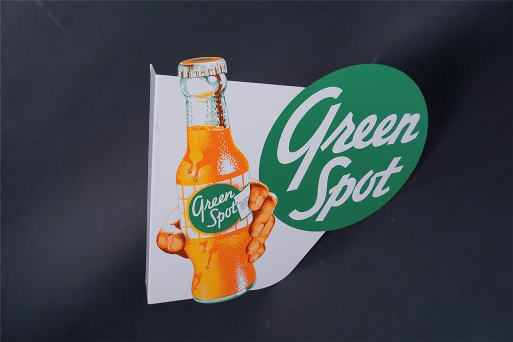 Extremely scarce NOS 1950s Green Spot Orange Soda tin flange sign with hand/bottle graphic. - Rear 3/4 - 190726