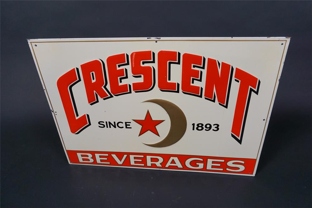 NOS 1930s Crescent Soda Beverages of New Orleans single-sided embossed tin sign - Front 3/4 - 190727