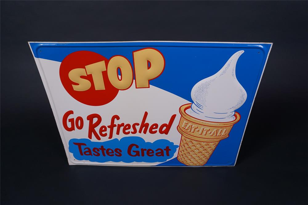 Superb NOS 1950s Eat It All Ice Cream Cones single-sided embossed tin soda fountain sign - Front 3/4 - 190728