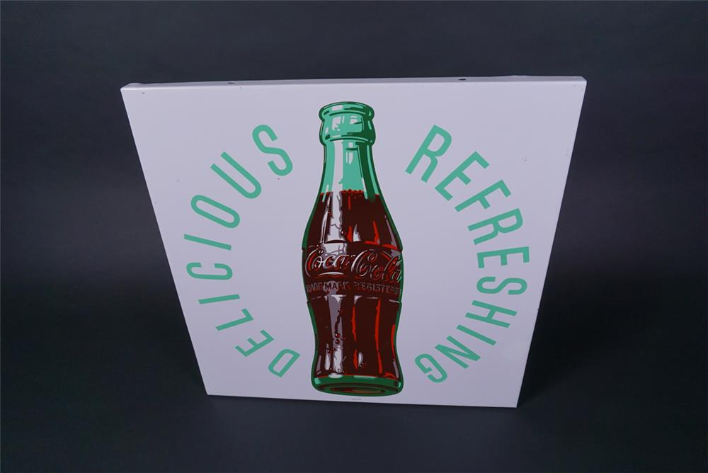 "Unusual NOS 1950s Coca-Cola ""Delicious-Refreshing"" single-sided tin sign - Front 3/4 - 190729"