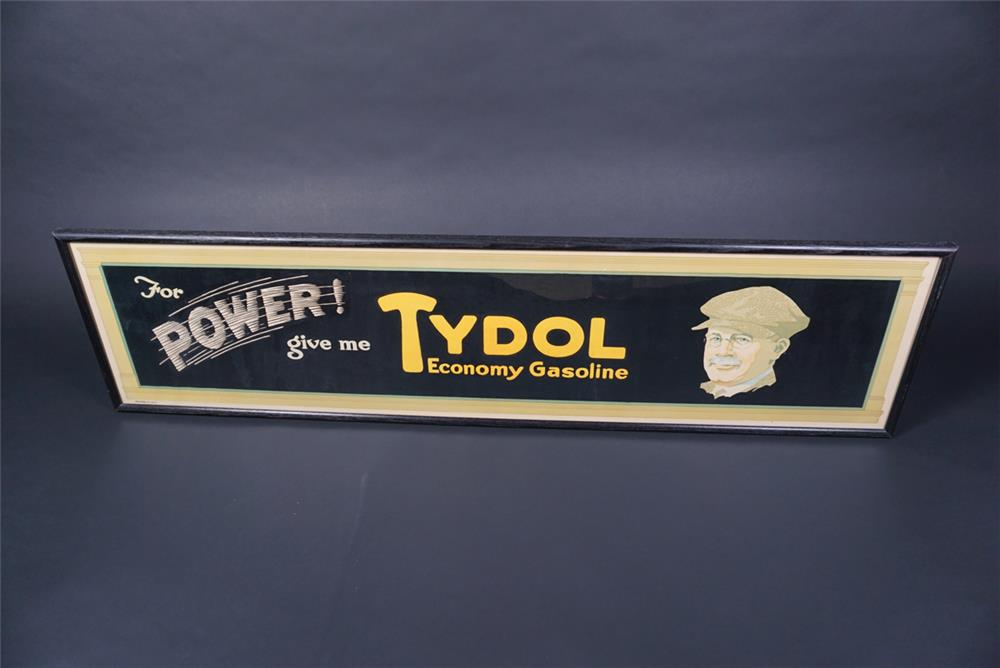 "NOS 1920s Tydol Economy Gasoline ""For Power"" single-sided filling station poster - Front 3/4 - 190730"