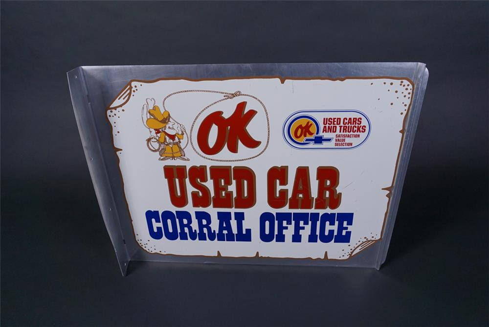 Hard to find vintage Chevrolet OK Used Car Corral Office double-sided dealership tin flange - Front 3/4 - 190731